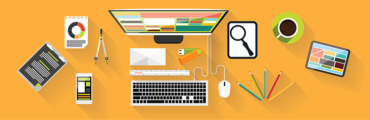 Digital Content Page Header. Overhead image of desk with computer and other items