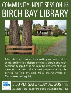 Birch Bay Library Community Input Session #3 Saturday August 18th, 3:00 pm
