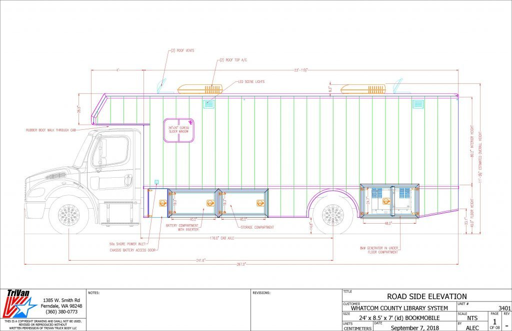 Bookmobile Road Side Elevation drawing