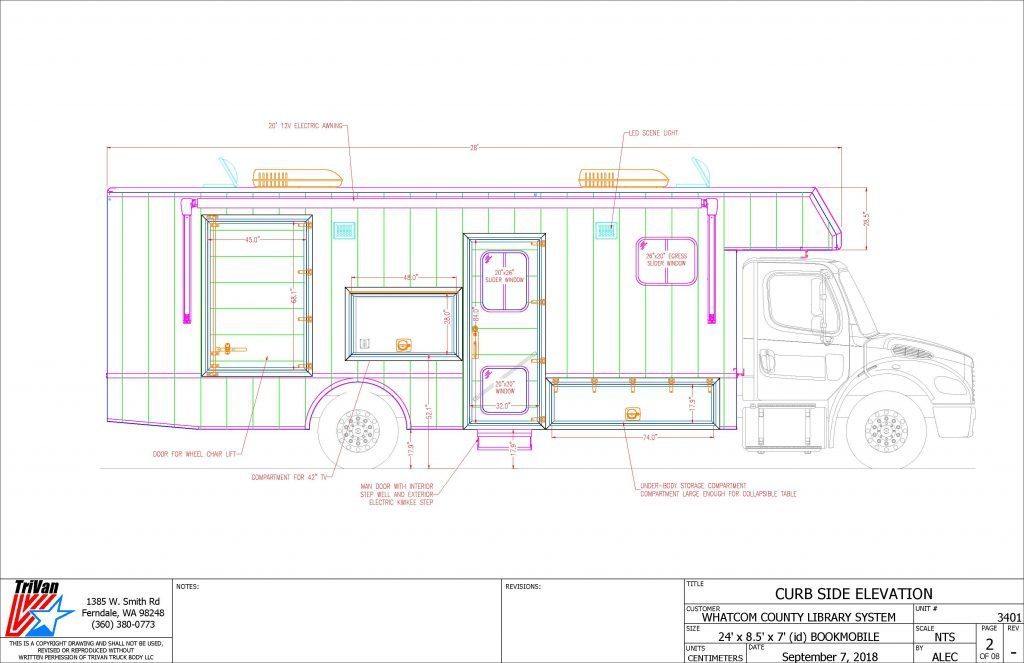 Bookmobile Curb Side Elevation drawing
