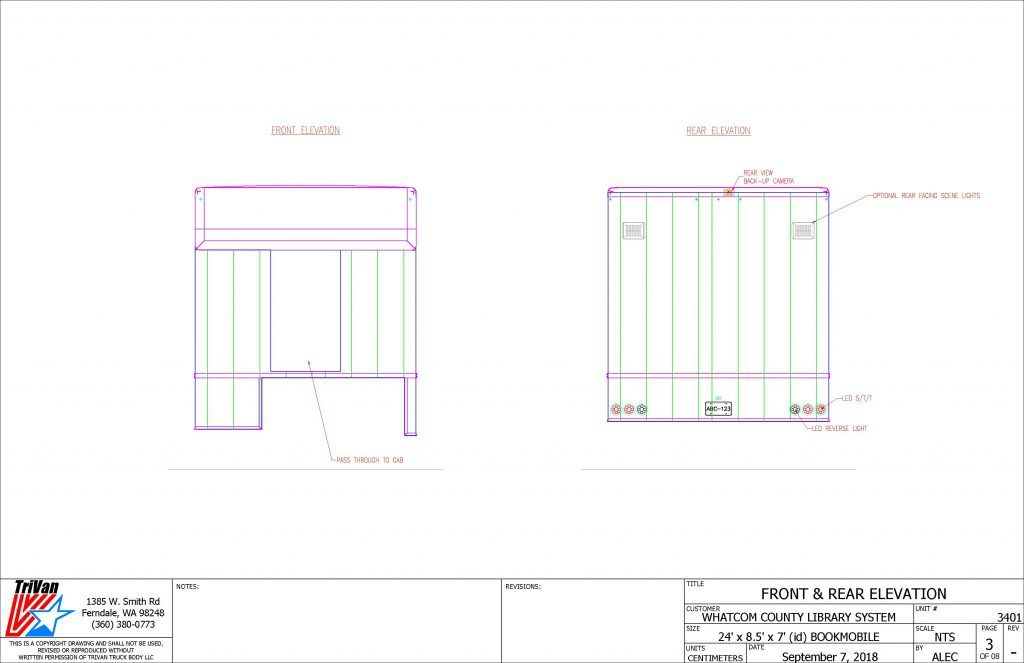 Bookmobile Front and Rear Elevation drawing