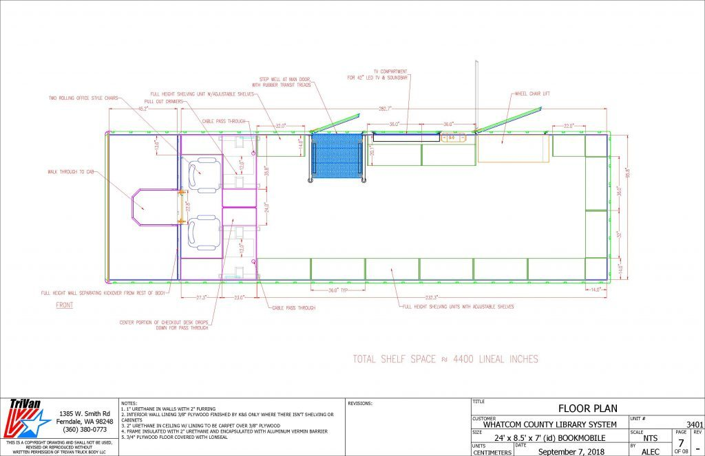 Bookmobile Floor Plan drawing