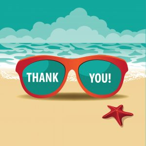 "Image of sunglasses on beach. Caption ""Thank You."""