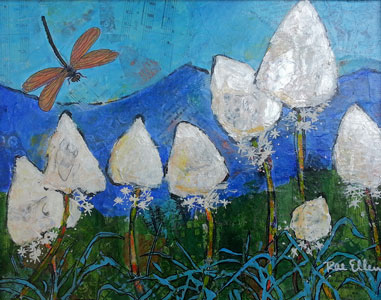 Image of painting by Rae Ellen Lee: Beargrass and Dragonfly
