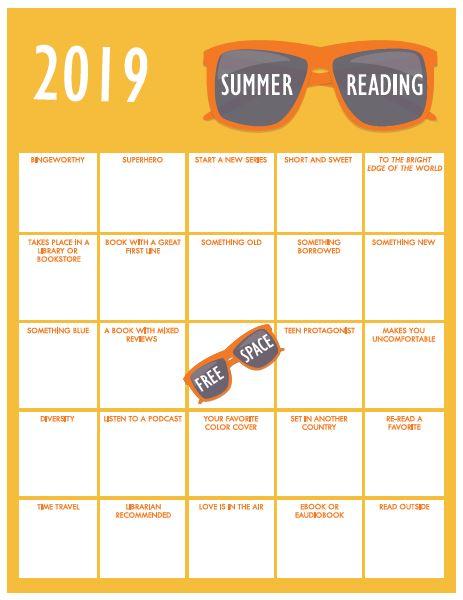 Adult version Summer Reading Bingo Card 2019
