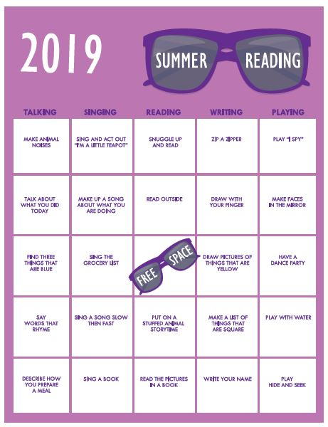 Early Readers version Summer Reading Bingo Card 2019