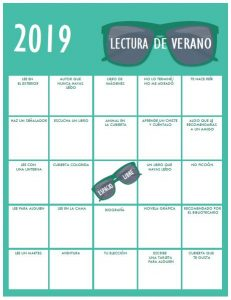 Spanish Kids version Summer Reading Bingo Card 2019