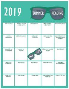 Kids version Summer Reading Bingo Card 2019