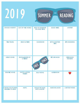 Teen version Summer Reading Bingo Card 2019