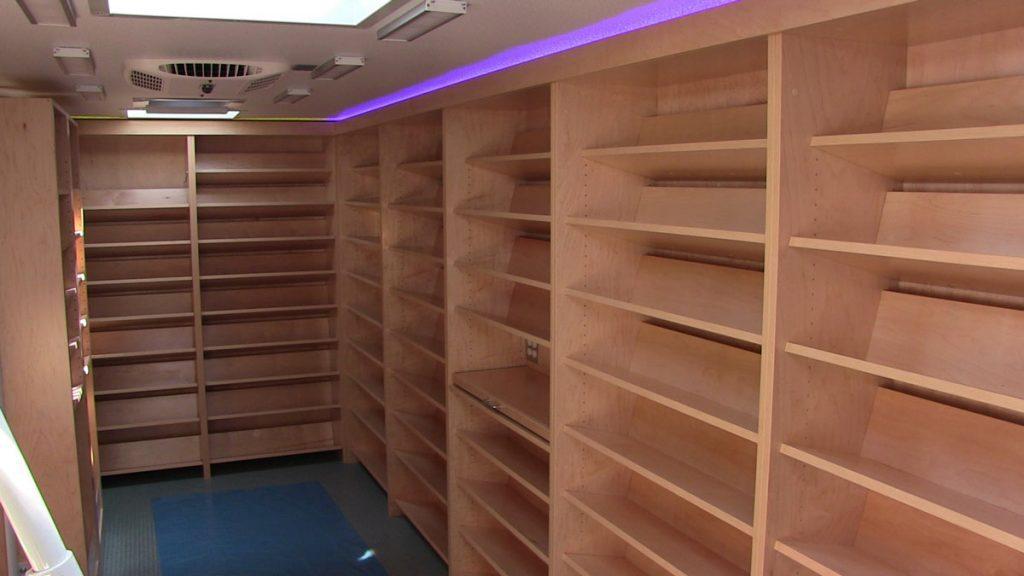 Bookmobile interior with shelves