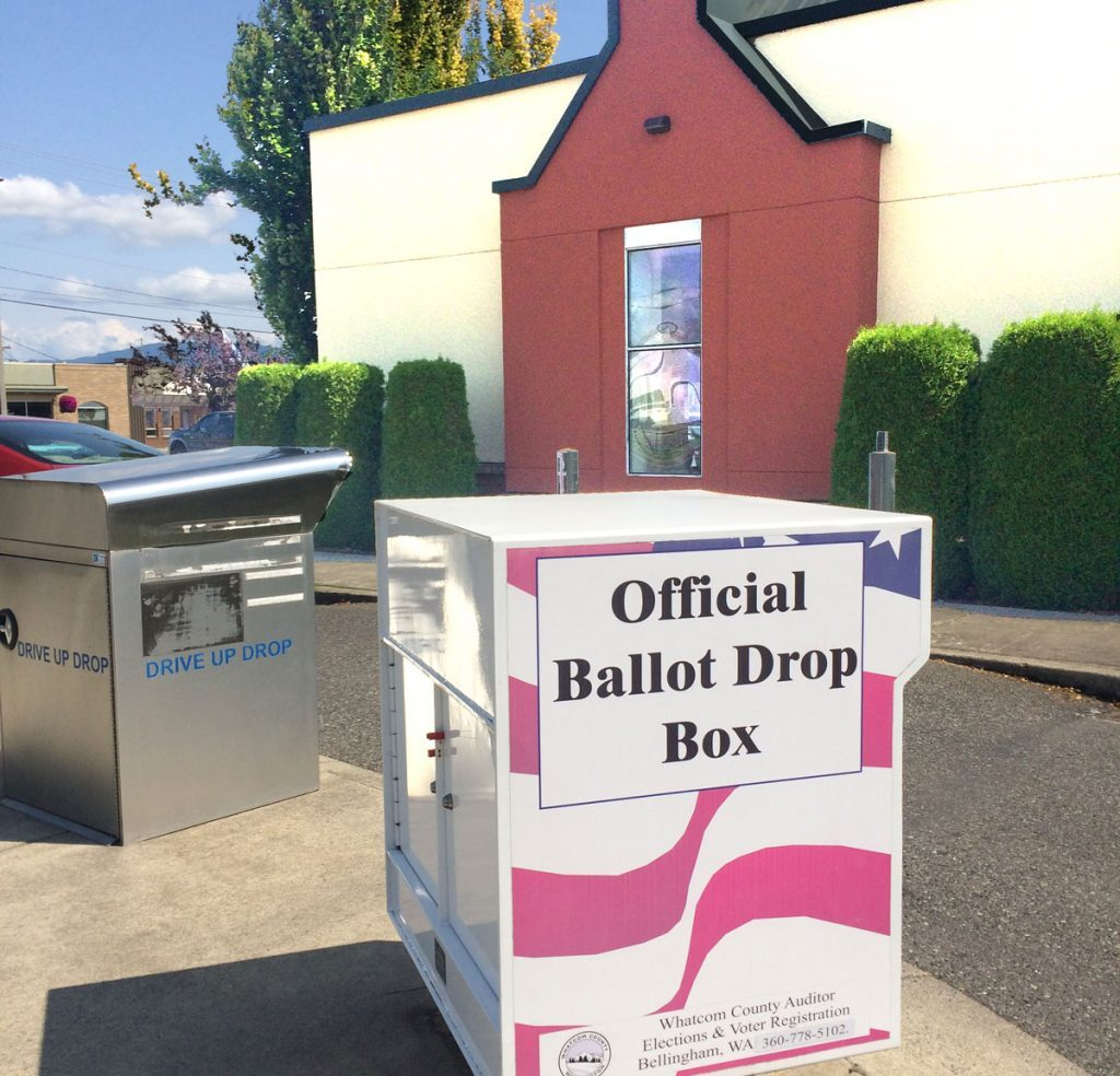 ballot box in front of Lynden Library