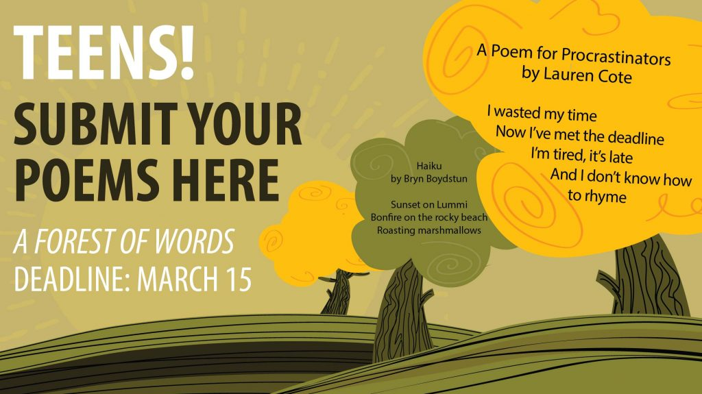 Invitation for teens to submit original poetry for A Forest of Words