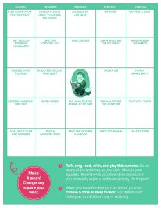 2020 summer reading bingo card for early years