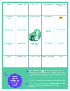 2020 summer reading bingo card for kids