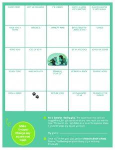 2020 summer reading bingo card for teens