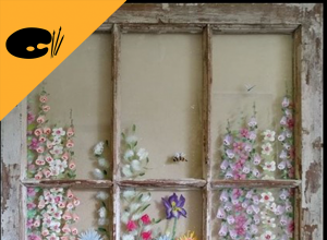 image of window with painted flowers and superimposed palette icon