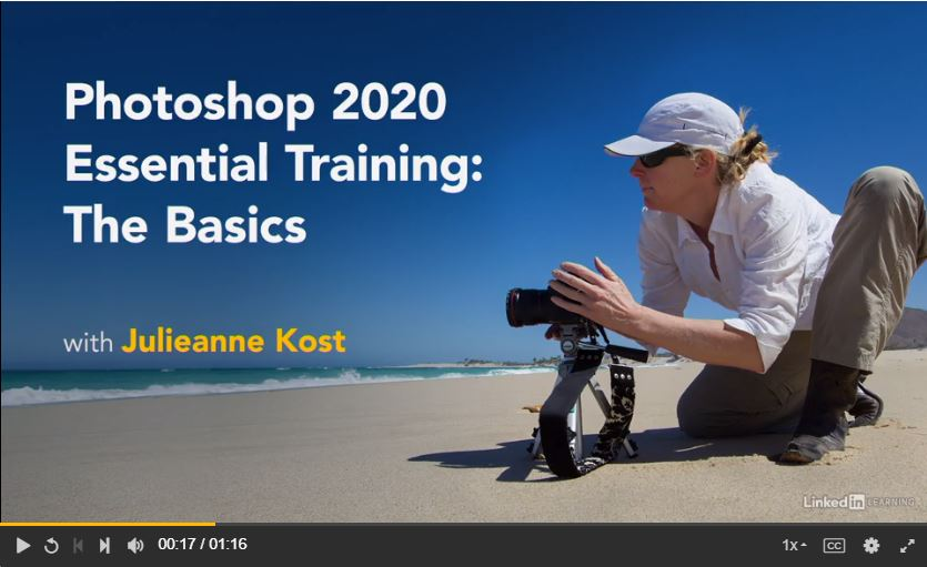 screenshot of lynda.com class: Photoshop 2020 Essential training. The basics.