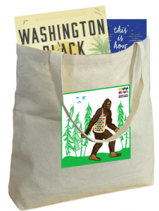 image of book tote bag with image of bigfoot on the front of it