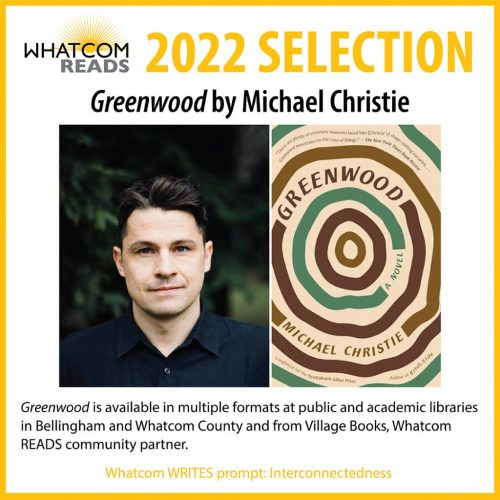 Photo of author Michael Christie and cover of 2022 Whatcom READS selection Greenwood