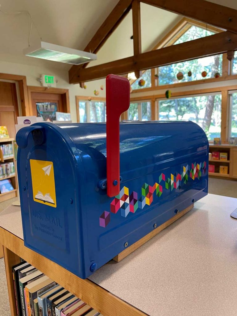 blue mailbox in library