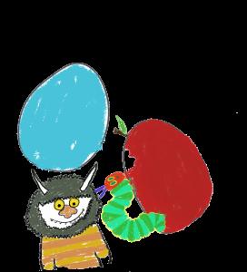 Summer Reading Card drawings, monster, egg, caterpillar