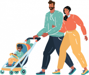 family with child in stroller