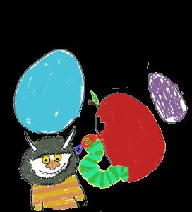 Summer Reading Card drawings, monster, egg, caterpiller
