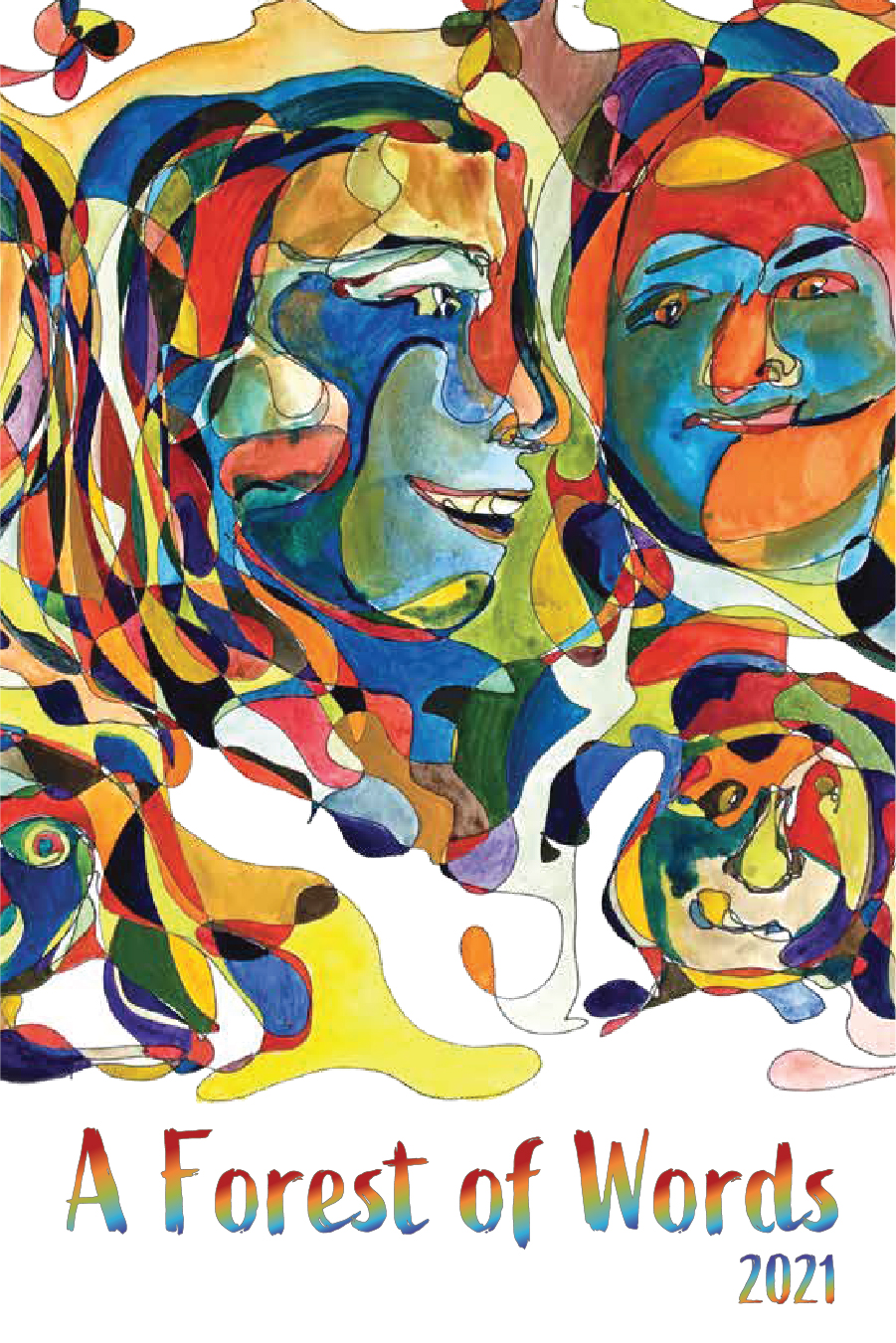 A Forest of Words cover art shows a collage of faces by teen artist Siena Stiles.