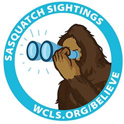 Sasquatch with binoculars. Sasquatch Sightings. wcls.org/believe
